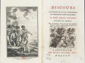 Page de garde de l'édition (Amsterdam, Marc Michel Rey, 1755) du « Discours sur l'origine et les fondemens de l'inégalité parmi les hommes » de Jean-Jacques Rousseau.