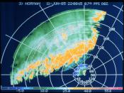 Image of a thunderstorm line (in dBZ) seen on a 0.7 degree elevation PPI (NOAA)