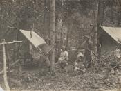 English: Loggers at their camp in the Bunya Mountains, 1912 Group of three men are pictured outside two tents. They are surrounded by bush.