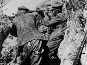 World War I soldiers in a trench during the Gallipoli campaign in Turkey, 1915