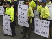 English: A rally of local people in protest of Wagga City Council's planning department.