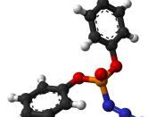 Ball-and-stick model of the diphenylphosphoryl azide (DPPA) molecule.
