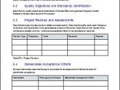 Quality Management, Project Plan Templates