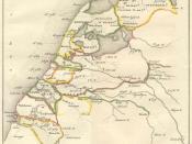 Nederlands: Bestuurlijke kaart van Nederland omstreeks jet jaar 1000. Reconstructie door Willem Bilderdijk zie ook: http://www.dbnl.org/tekst/bild002gesc01_01/bild002gesc01_01_0013.php. (Deze link is niet de bron)