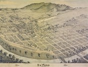 El Paso, Texas in 1886. Bird's Eye View of El Paso, El Paso County Texas, 1886. Lithograph, 20 x 30 in. Lithographer unknown. Private Collection.