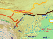 English: A map of the great wall of china of Han Dynasty Deutsch: Eine Karte der chinesischen Mauer zur Zeit der Han Dynastie