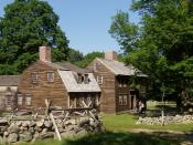 English: Hartwell's Tavern, in the Minute Man National Historical Park, Lexington, Massachusetts. This restored tavern is along the approximate route of Battle Road, the site of running skirmishes between British and Colonial troops during the Battle of L