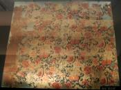 Flower-patterned silk from the Tomb No. 1 at Mawangdui, Changsha, Hunan province, China, dated to the 2nd century BC during the Western Han Dynasty (202 BC - 9 AD).