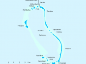 Map indicating islands of Nukulaelae atoll, Tuvalu