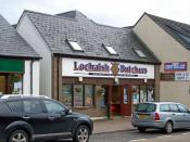 English: Lochalsh Butchers Located in Station Road, Kyle of Lochalsh. This is a thriving local business with three other shops in the locality, offering online shopping, home delivery and mail order.