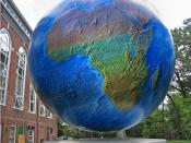 English: The globe on the campus of Babson College, Wellesley, Massachusetts, U. S. This is the restored globe installed in 1994, replacing the original 1955 globe.