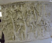 Ancient usage of the Dolabra as entrenching tool. Romanian National History Museum, Cast of Trajan's Column