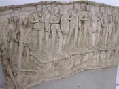 Roman auxiliary infantry crossing a river, probably the Danube, on a pontoon bridge during the emperor Trajan's Dacian Wars (101–106 AD)