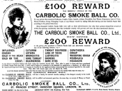 English: Advertisement for the Carbolic Smoke Ball Co, after losing a case in the Court of Appeal.