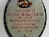 English: Memorial on the wall of Berkhamsted School Chapel to Charles Henry Greene, headmaster of Berkhamsted School, and his wife Marion Raymond, who were the parents of writer Graham Greene and BBC Director-General Hugh Greene.