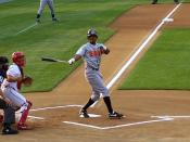 English: Nook Logan, of the Erie SeaWolves, hitting a foul ball on July 2, 2006.