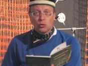 English: Mika Keränen reading some lines from his book during literature festival HeadRead