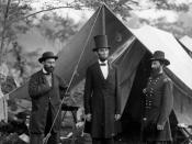 Abraham Lincoln with Allan Pinkerton and Major General John Alexander McClernand at the Battle of Antietam.