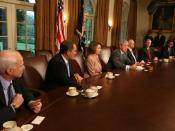 English: President George W. Bush speaks during a meeting with Bicameral and Bipartisan members of Congress Thursday, Sept. 25, 2008, in the Cabinet Room of the White House. Included in the meeting with the President are, from left: Sen. John McCain, R-Ar