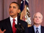 President Barack Obama and Senator John McCain in a press conference, taking place on March 4, 2009.