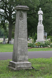 The grave marker for Horatio Nelson Ball and his father, Joseph Ball, Jr. (as well as several other family members) in the Grandville Cemetery, MI. Joseph, Jr. was the son of a Revolutionary War drummer.
