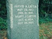 Jarvis Andrew Lattin (1853-1941) granite tombstone from Powell Cemetery in Farmingdale, New York