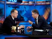 English: Television host interviewing Admiral during a taping session of '.