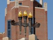 Symbolic torches on Heritage Tower fountain