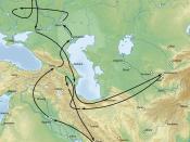 English: The campaign of Timur against the Golden Horde in 1392-1396. Nederlands: De campagne van Timoer tegen de Gouden Horde in 1392-1396.