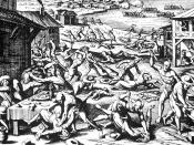 Indian massacre of 1622, depicted in a 1628 woodcut by Matthaeus Merian out of Theodore de Bry's workshop.