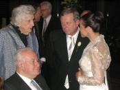 Former Prime Minister of Australia Gough Whitlam with wife Margaret (left) at the wedding reception of the Premier of South Australia Mike Rann and Sasha Carruozzo (right), Australian Wine Centre.