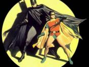 Batman with his sidekick Robin. Painting by Alex Ross, based on the cover of Batman #9 by Jack Burnley.