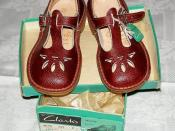 English: Clarks Joyance children's t-bar sandals made in England from the 1930s to 1970s
