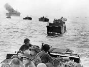 LCA (Landing Craft Assault) containing Winnipeg Rifles head for the Normandy Juno beach - June 6, 1944. Most are wearing Mk III helmets.