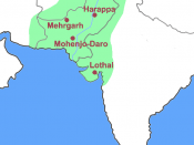 Location of Harappa in the Indus Valley and extent of Indus Valley Civilization (green).