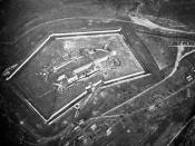Douaumont Fort nearby Verdun, France, aerial photography, 1916
