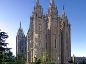 Salt Lake Temple in Salt Lake City, Utah, USA. Taken by myself with a Canon 10D and 17-40mm f/4 L lens. This is a 3 segment panorama.