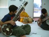 Usman Waqqas Chohan demonstrating at a sitar workshop in Islamabad, Pakistan