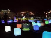 Colorful Light Up Cube Chairs For Seating,Rechargeable Battery LED Cube Stools