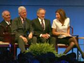 English: Former President Clinton with 2009 Liberty Medal recipient Steven Spielberg