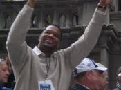 English: Michael Strahan during a post superbowl parade.