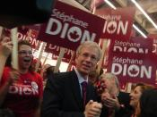 Stephane Dion at a Liberal leadership convention rally for his supporters.