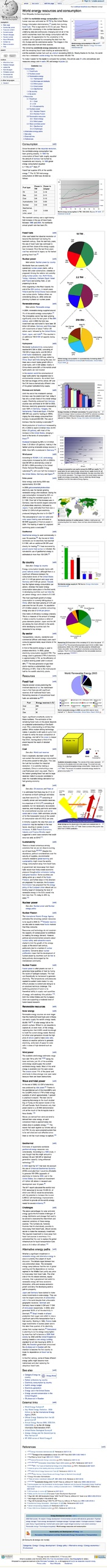 World energy resources and consumption - Wikipedia, the free encyclopedia (20070217)