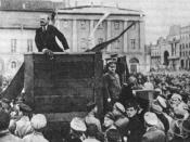 Lenin speaking at a meeting in Sverdlov Square in Moscow on 5 May 1920. Original photo with Trotsky and Kamenev standing on the steps of the platform. File:Lenin Speeching in Moskow, 1920-05-01 Where is Trotski?.jpg is an altered version of this photograp