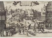 A 1606 etching by Claes (Nicolaes) Jansz Visscher, depicting Fawkes's execution