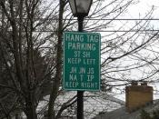 Parking Sign, University of Notre Dame, South Bend, Indiana