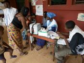 Post for measles vaccination, vitamin A and deworming tablet distribution