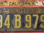 CALIFORNIA 1941-44 LICENSE PLATE WITH TABS