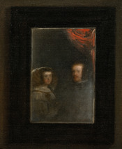 Detail of the mirror hung on the back wall, showing the reflected images of Philip IV and his queen Mariana of Austria