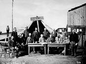 A portrait of the first Vancouver City Council meeting after the 1886 fire. The tent shown was on the east side of the 100 block Carrall. Smedman, Lisa (2006-03-03).